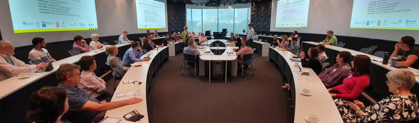 A forum discussion at Queensland University of Technology for the International Day of Disaster Reduction.