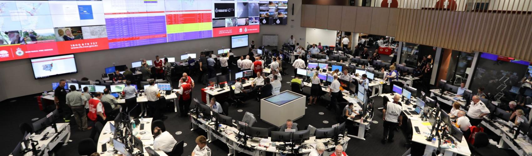 The New South Wales Rural Fire Service headquarters during the state's peak day. Photo: Anthony Clark, New South Wales RFS.