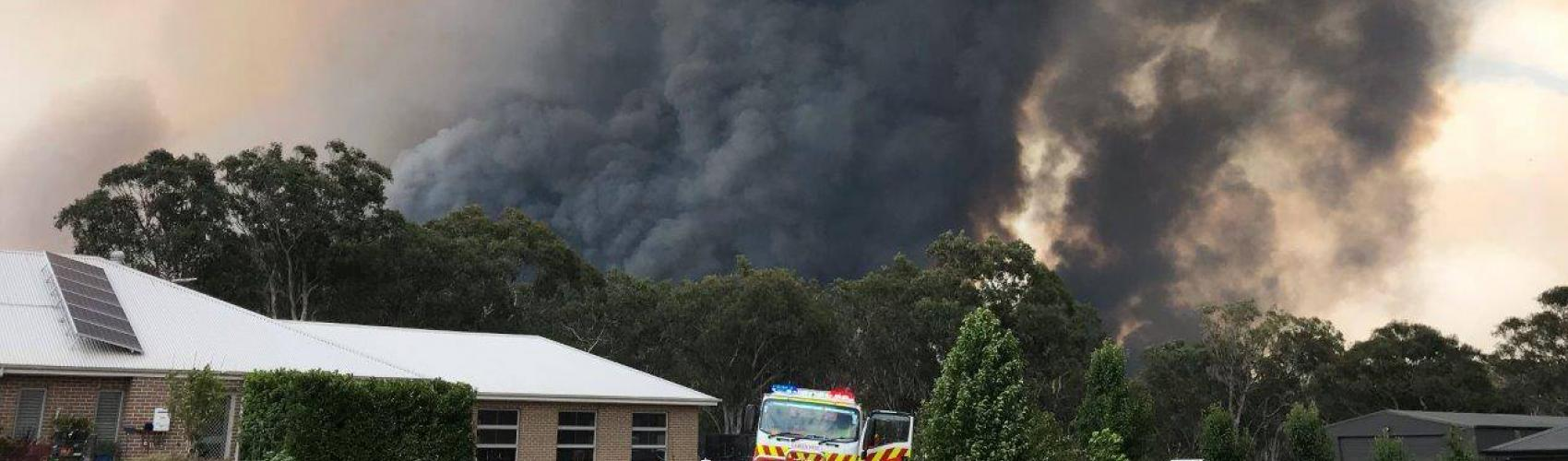 The Morton fire in NSW threatens homes. Photo: NSW Rural Fire Service.