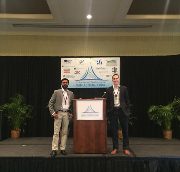 Korah Parackal and Dr Daniel Smith at the Americas Conference on Wind Engineering.
