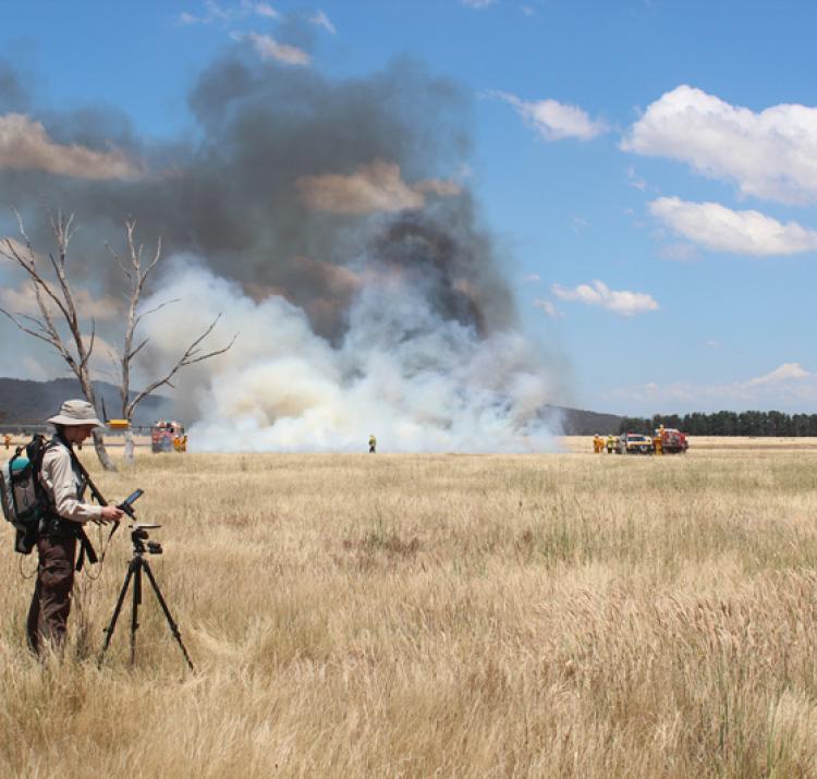 Dr Marta Yebra conducting a grassland fire experiment. Photo: Carolina Luiz