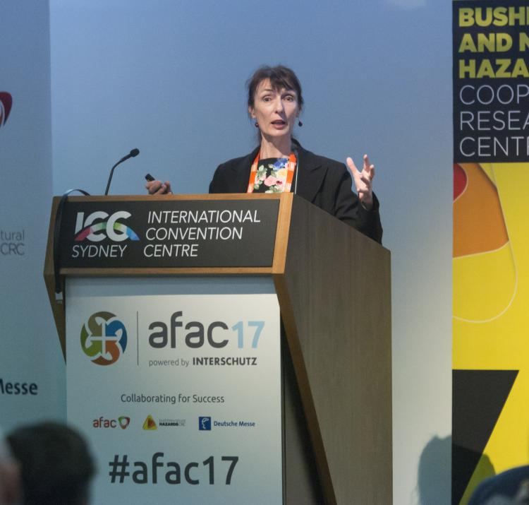 Lead researcher Celeste Young at AFAC17.