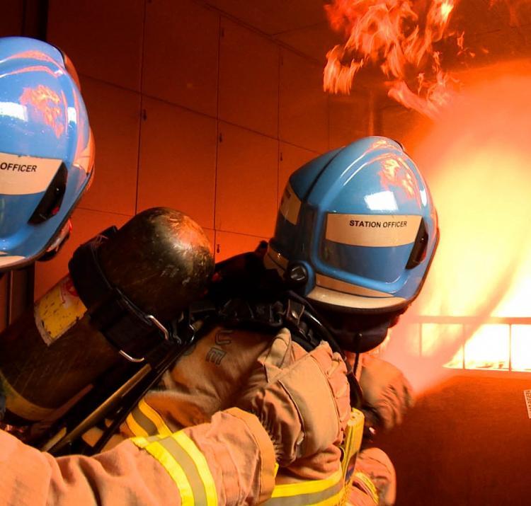 Firefighters battling a blaze. Photo: MFB