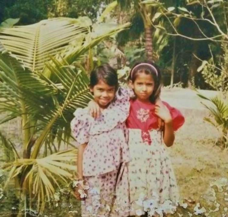 Mayeda Rashid (right) with her best friend in primary school in Bangladesh.