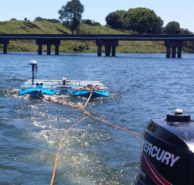 The HydroSurveyor working near Rogan's Bridge on the Clarence River.