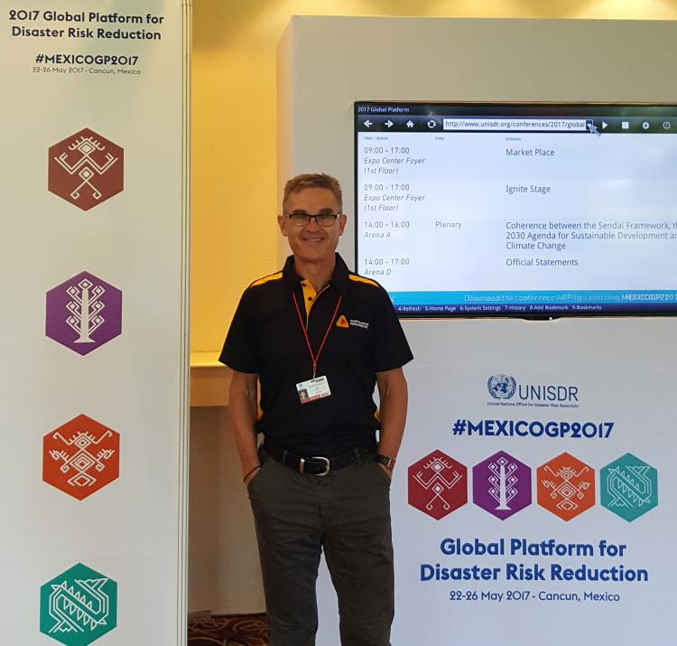 Kevin Ronan at the Global Platform for Disaster Risk Reduction conference in Cancun, Mexico