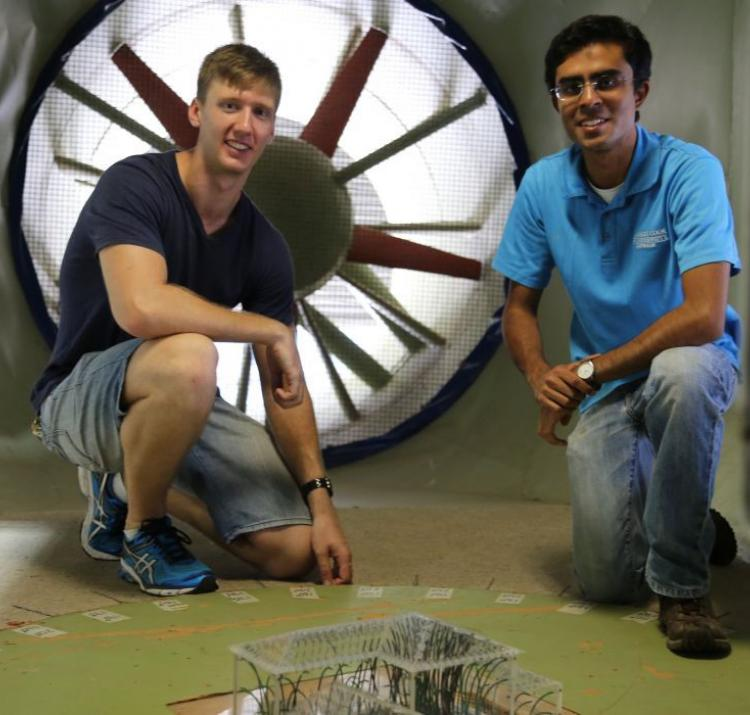 Dr Korah Parackal (right) and Mitchell Humphreys at the James Cook University Cyclone testing station. Photo: James Cook University