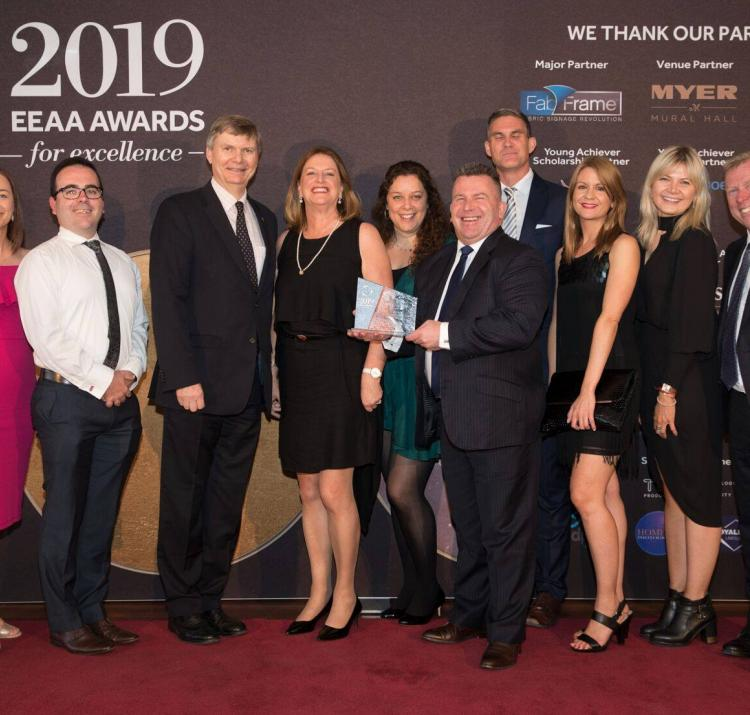 The team from AFAC and Deutsche Messe are pictured with the Best Association Event at the 2019 Exhibition and Event Association of Australasia awards.