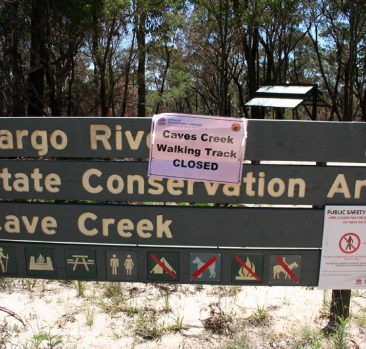 Park closure due to bushfire NSW 2013