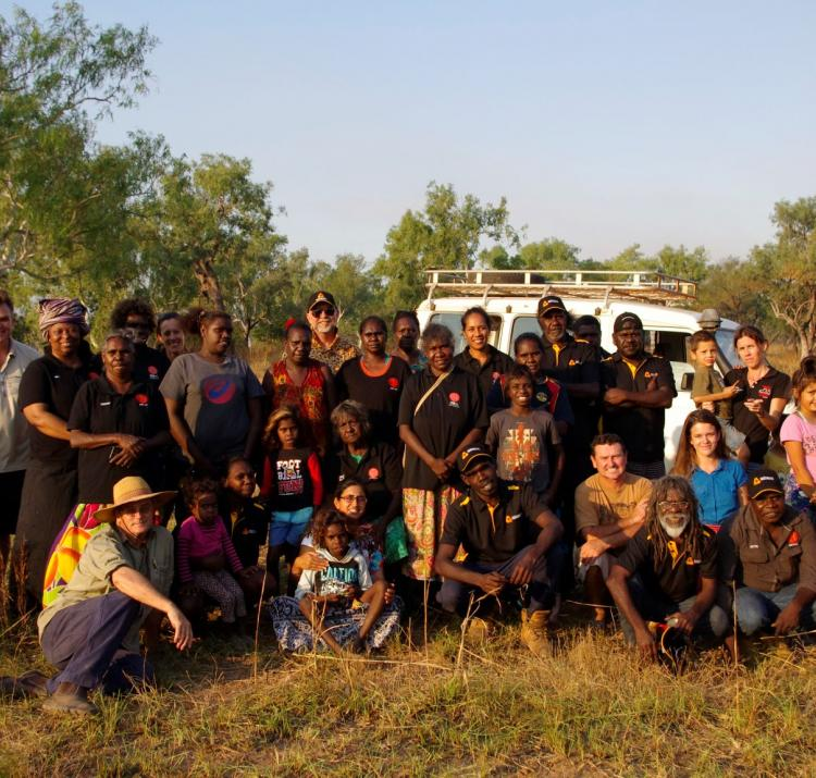 Steve Sutton (Charles Darwin University) with ARPNet researchers and community members in northern Australia. Photo: Nathan Maddock, CRC.