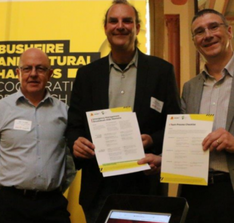 Left: Mark Thomason, Middle: A/Prof Chris Bearman, Right: CRC CEO Dr Richard Thornton launch the two checklists in Melbourne.