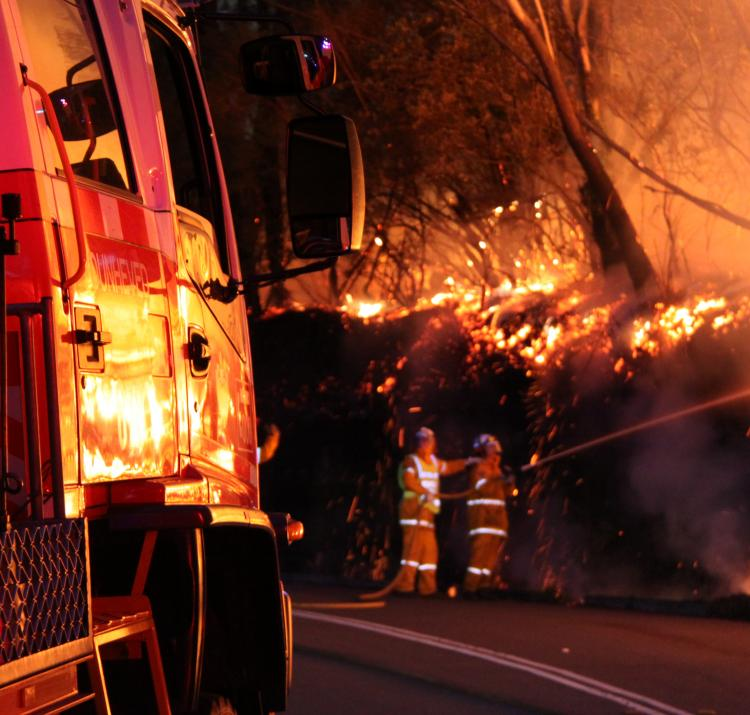 Volunteer firefighters battle a blaze. Photo: Ben Shepard NSW RFS