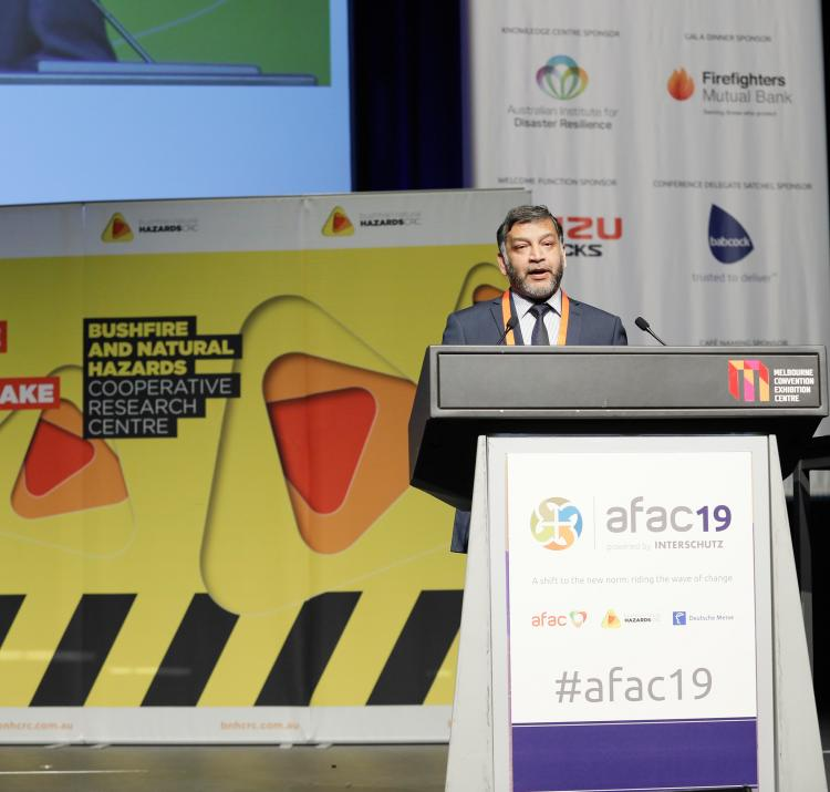 CRC researcher Khalid Moinuddin presenting at AFAC19