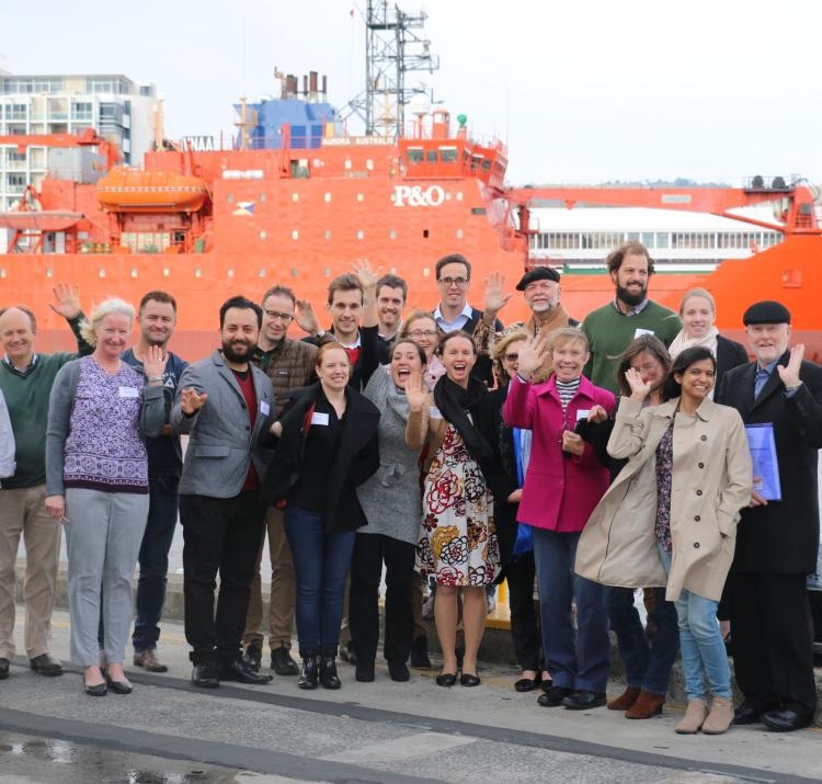 Dr Fiona Jennings (three from the left) and Dr Timothy Ramm (8 from the left) with other PhD students at the Hobart 2016 RAF