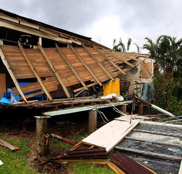 Cyclone damage to a building after Cyclone Yasi in 2011.
