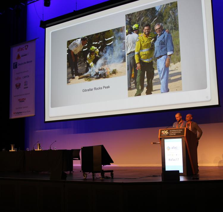 Dean Freeman, Jackson Taylor-Grant and Tim Neale talking about the project at AFAC17. Photo: Adam Leavesley