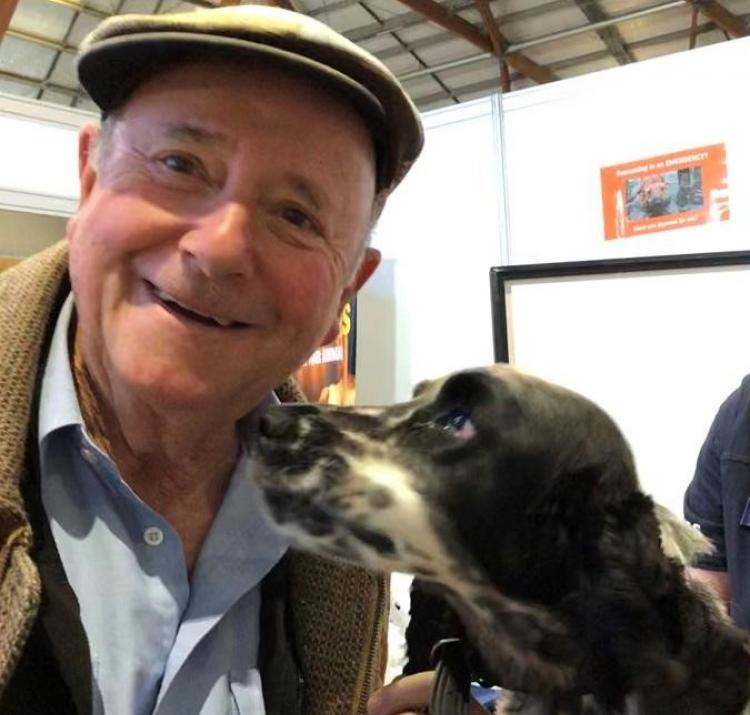 Dr Harry and Zali, NSW SES search dog in training, at the Sydney Dog Lovers Show 2019.