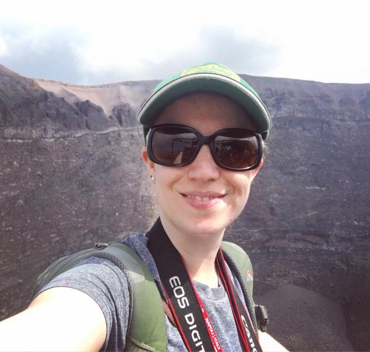 Emma Singh overlooking Mount Vesuvius. Photo: Emma Singh