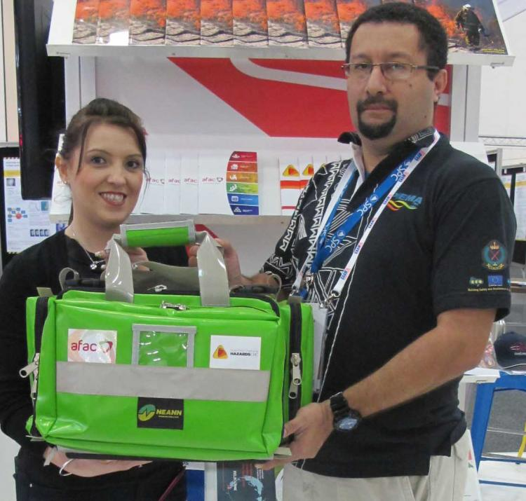 Anthony Blake from the Pacific Island Emergency Management Alliance, with the CRC's Vaia Smirneos.