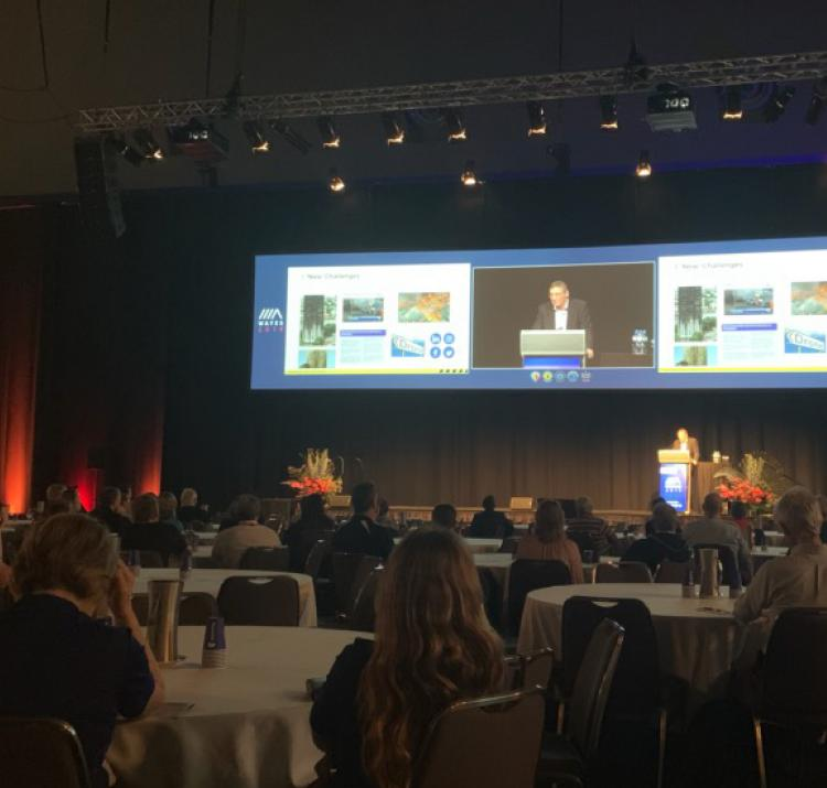 Dr Richard Thornton speaking at the 2019 Western Australian Fire and Emergency Services conference. Photo: Kelsey Tarabini.