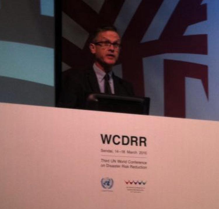 Kevin Ronan presenting in Sendai