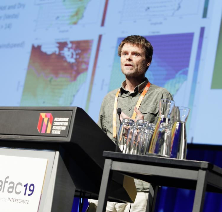 Dr Kevin Tory presenting at AFAC19 powered by INTERSCHUTZ. Photo: BNHCRC.