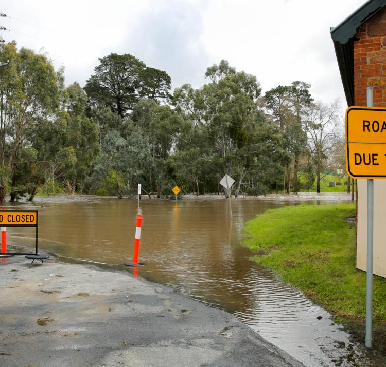 Flooded road in South Australia. Photo: South Australia SES.