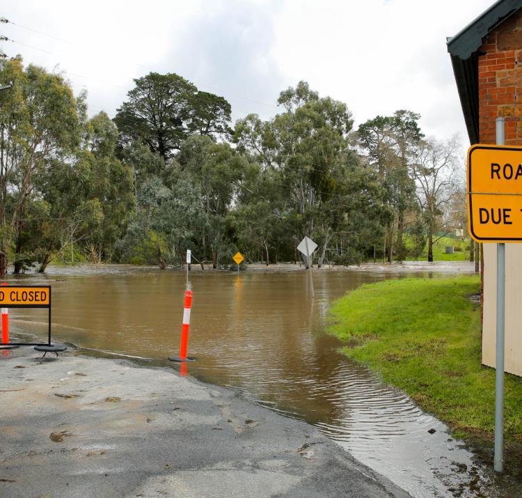 Flooded road in South Australia. Photo: South Australia SES.