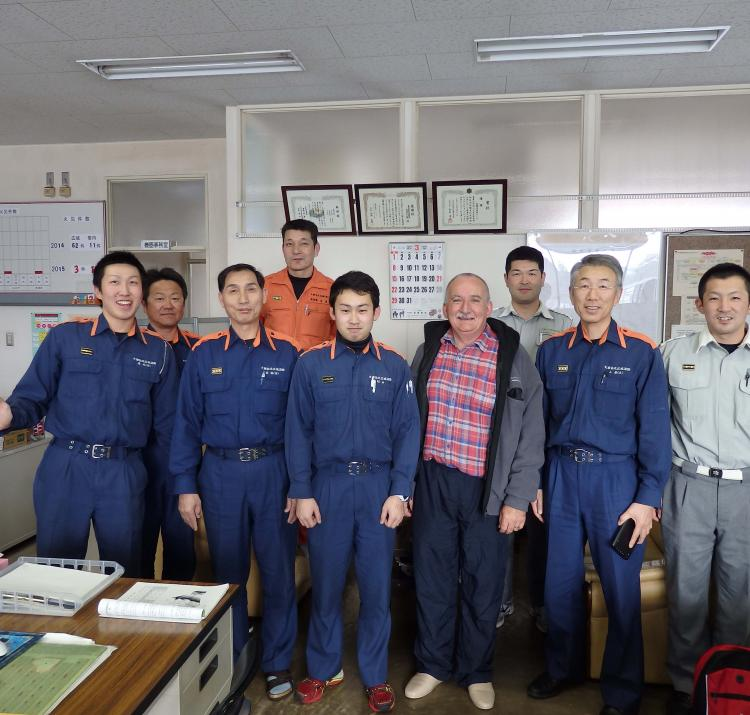 Tony with firefighters from the Kakunodate Fire Department.
