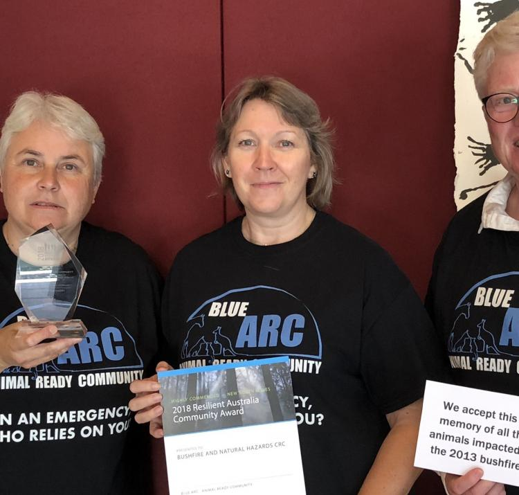 Dr Mel Taylor (middle) with Jenny Bigelow and MaryLou Keating from Blue ARC.