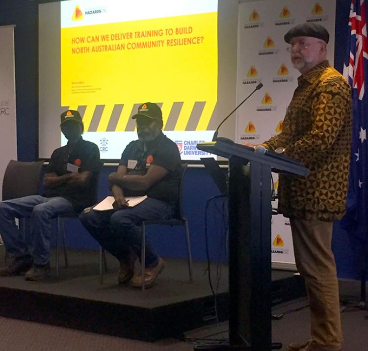 Steve Sutton with end-users Mike Redford and Otto Campion from the Aboriginal Researcher Practitioners Network.