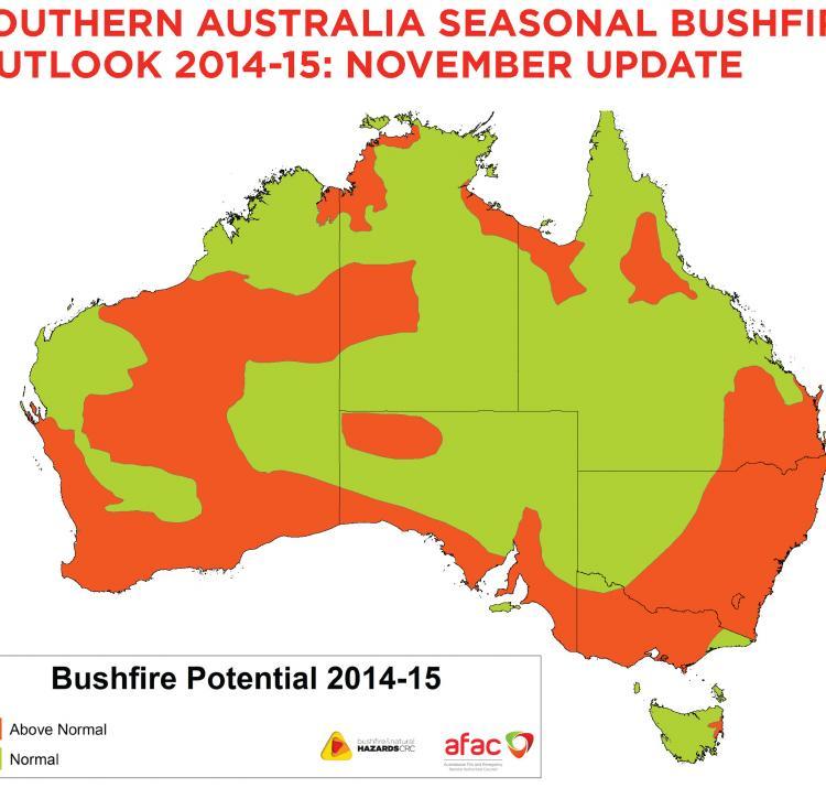 Updated seasonal bushfire outlook November 2014