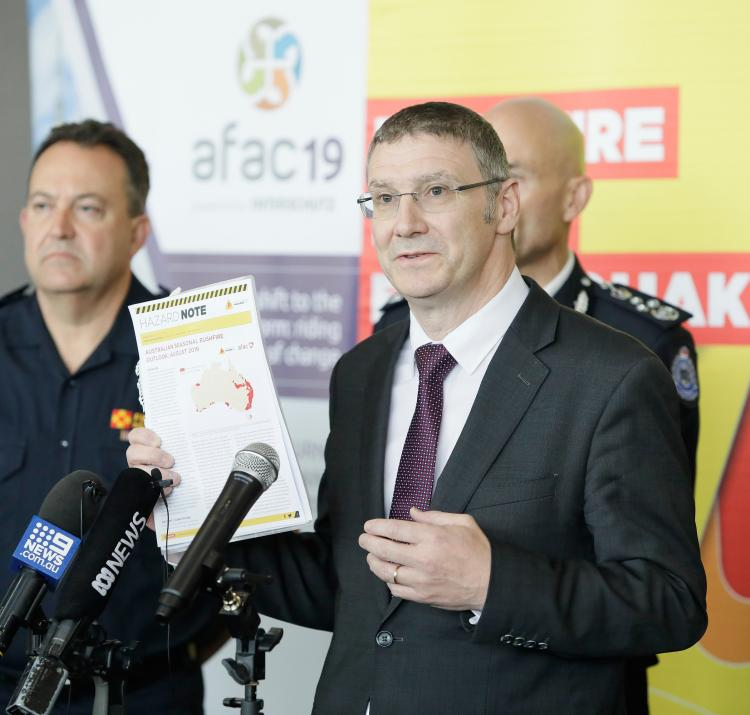 Dr Richard Thornton at the Australian Seasonal Bushfire Outlook media conference at the AFAC19 conference.