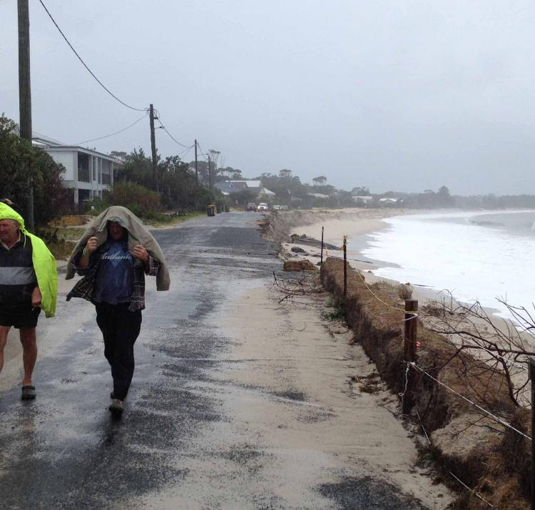 Road damage from storm surge, Jimmy's Beach, NSW. Photo NSW SES