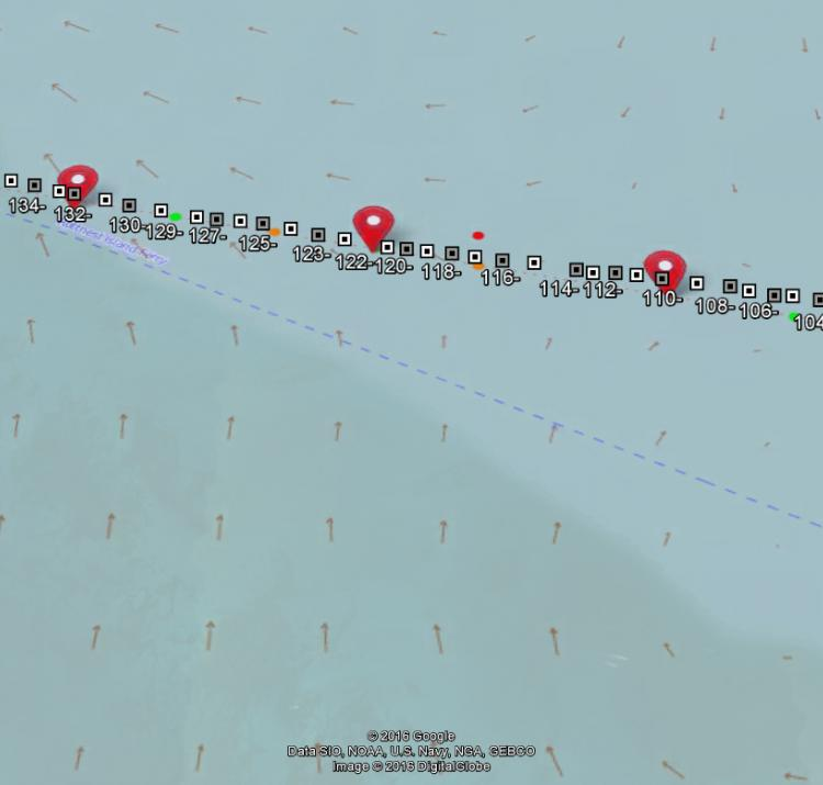 Current predictions, predicted waypoints (red markers) and the course Chari's team swam (white squares).
