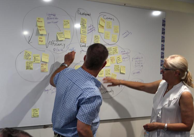 Craig Ashhurst and Liz Clarke mapping workshop data.