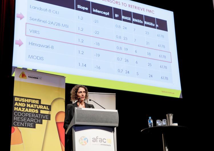 Dr Marta Yebra presenting at AFAC18, Perth