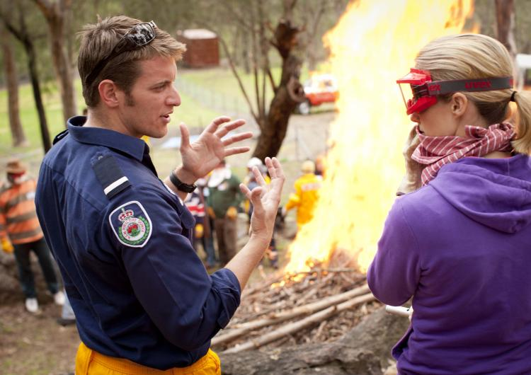 Learning about defending a home from fire. Photo: Damien Ford, NSW Rural Fire Service.