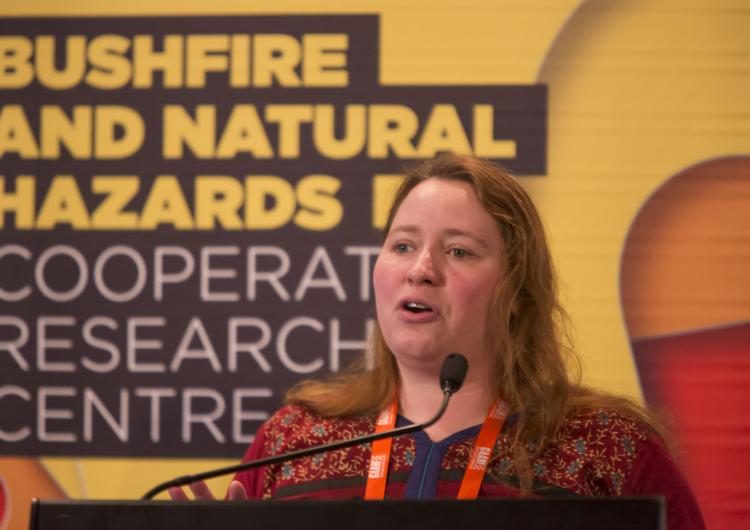 Dr Anna Lukasiewicz at the AFAC16 Research Forum in Brisbane. Photo: Bushfire and Natural Hazards CRC
