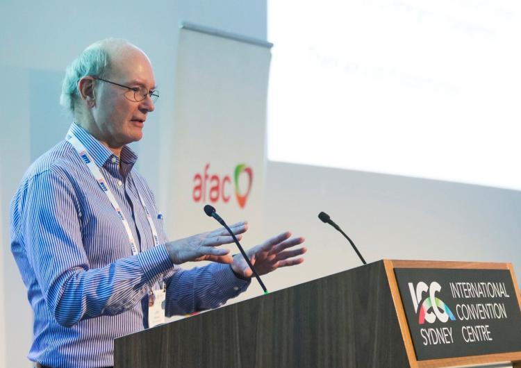 Prof John Handmer presenting at AFAC17