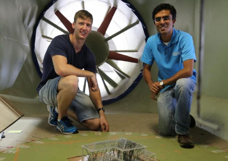 Dr Korah Parackal (right) and Mitchell Humphreys at the James Cook University Cyclone testing station. Photo: James Cook University