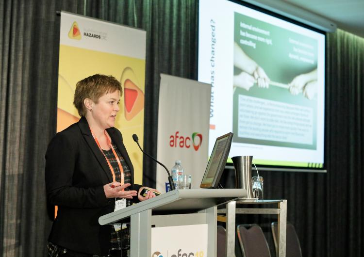 Dr Blythe McLennan talking at the AFAC18 Conference.