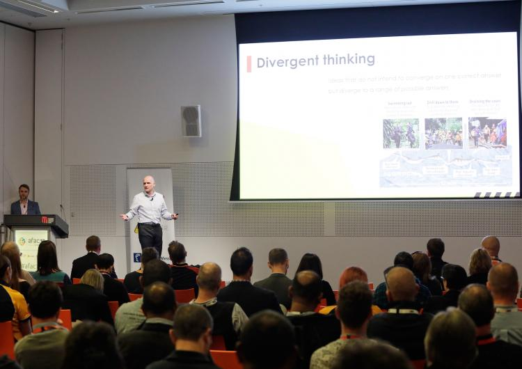 Dr Steven Curnin presenting at AFAC19 powered by INTERSCHUTZ, August 2019. Photo: AFAC.