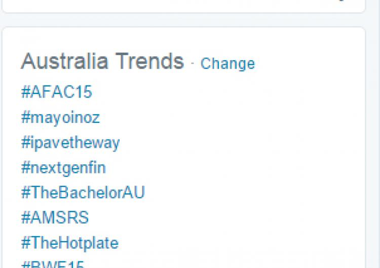 #AFAC15 was trending number one in Australia on Twitter.