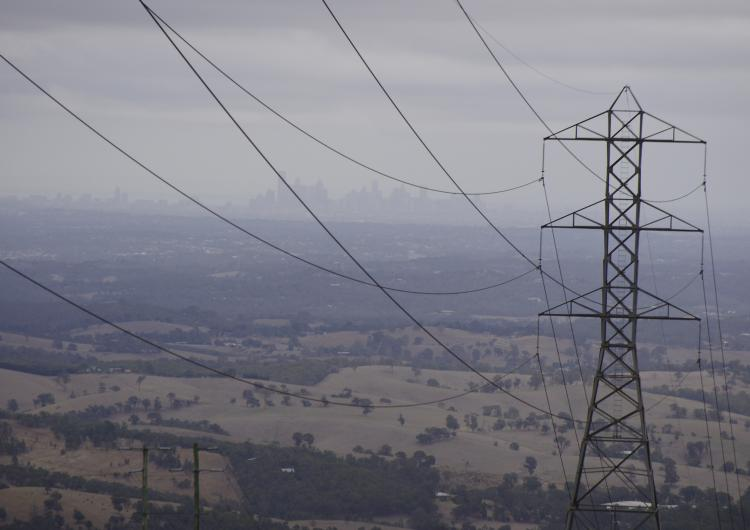 Melbourne as seen through haze from the Kinglake Ranges.