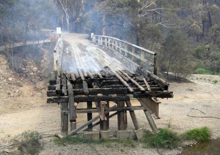 Fire damage to timber bridge.