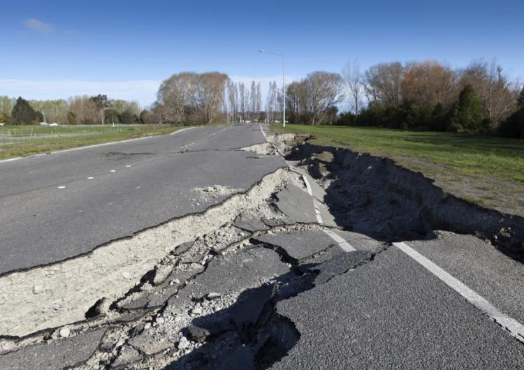 Road infrastructure damaged by earthquake.
