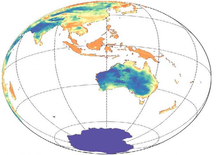 Soil moisture from ACCESS global numerical weather prediction model.