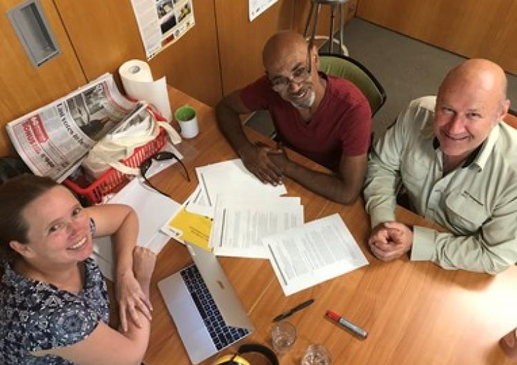 (left to right) Jessica Weir, Dean Freeman and Adam Leavesley at ACT Parks and Conservation, working on utilisation outcomes from this project.