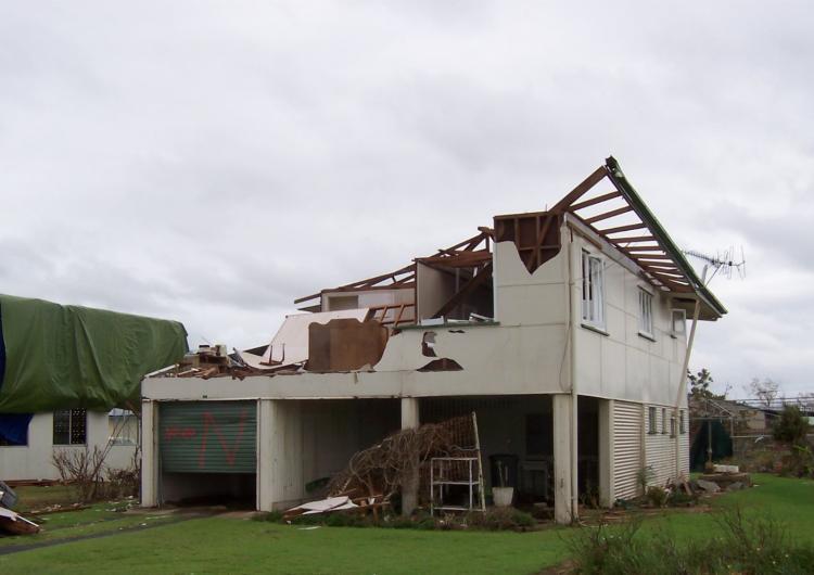 Wind induced damage to a legacy house, TC Yasi.